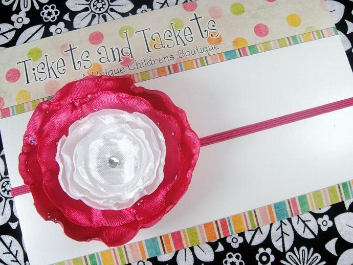 Ashley Large Hot Pink and White Satin Sparkle Victorian Ranunculus Flower w/