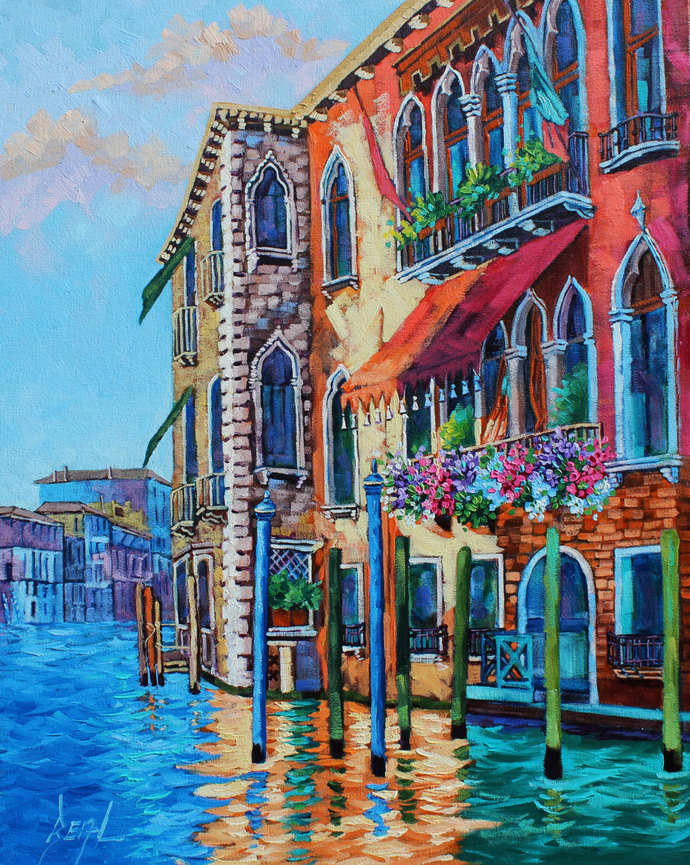 Venice Italy Painting Signed Original Oil Painting on canvas Landscape Art