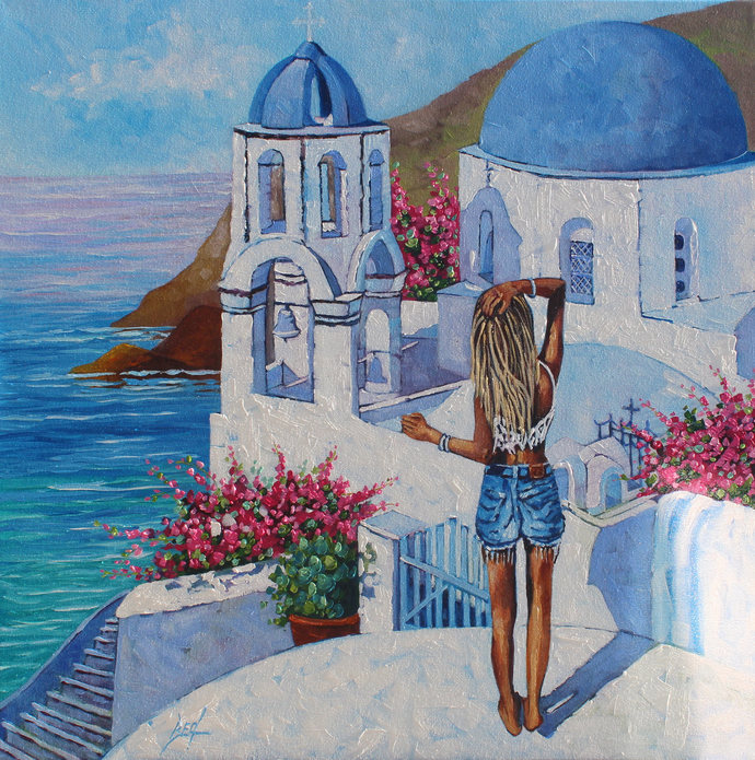 Santorini Greece Landscape Oil Original Painting Signed canvas wall art Rebecca