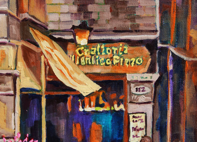 European Cafe painting Pizza Parlor Signed Original Art Oil Painting Colorful