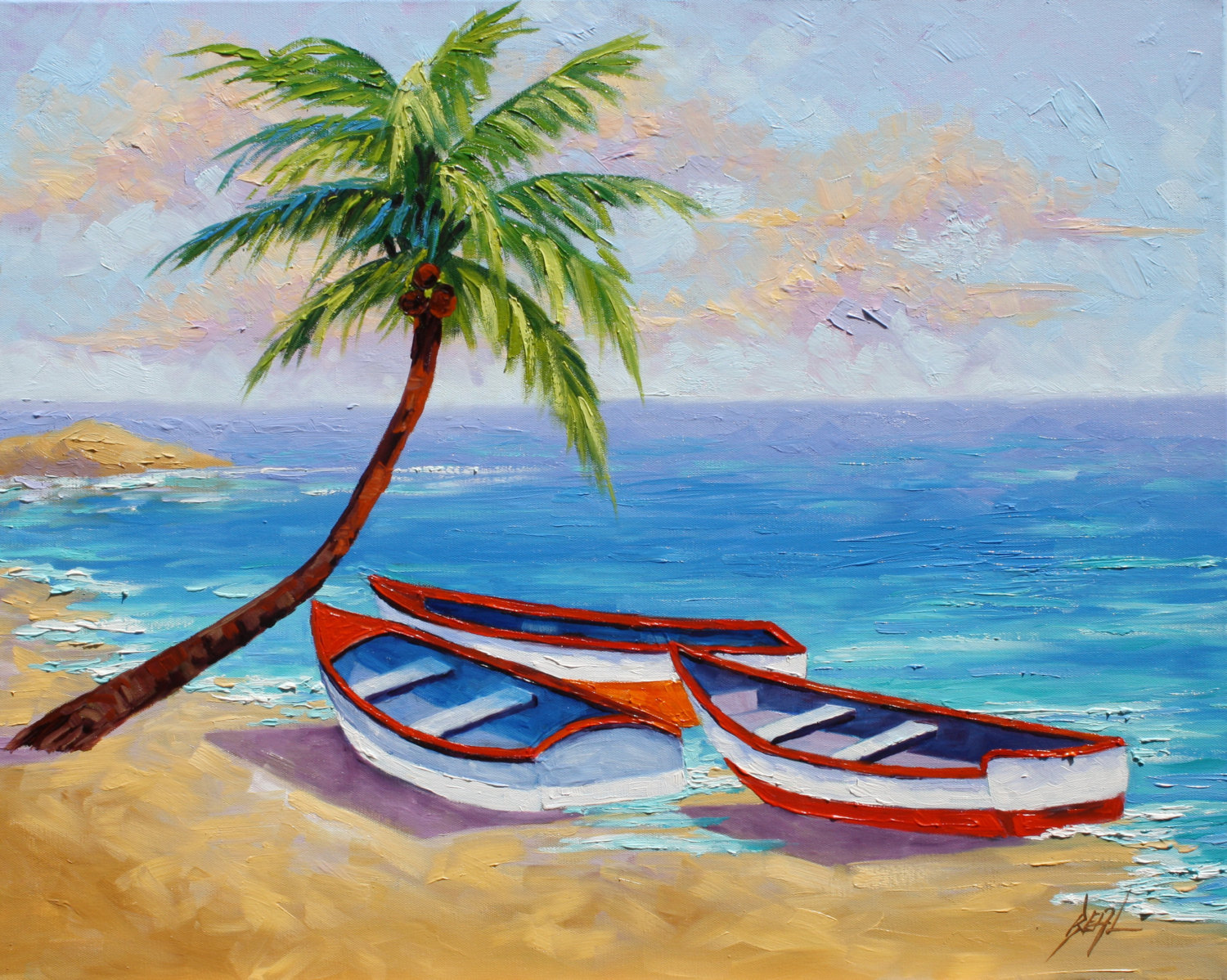 boat oil painting tropical beach painting by rebeccabeal on zibbet