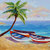 Boat Oil Painting Tropical Beach Painting signed Canvas Beach Wall art Landscape