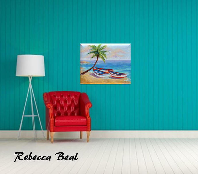 Boat Oil Painting Tropical Beach signed Canvas Landscape Rebecca Beal