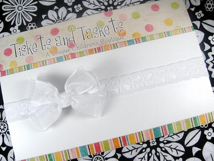 Small Dainty White Organza Boutique Hair bow on Lace Stretch Headband - Newborn
