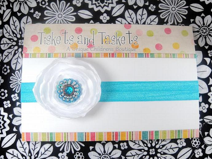 NEW... Pretty Tiffany Aqua Turquoise Blue Satin Fabric Flower Rosette on super