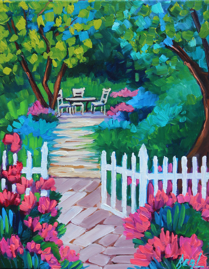 Captivating Afternoon An original Oil Painting by Rebecca Beal Colorful Garden