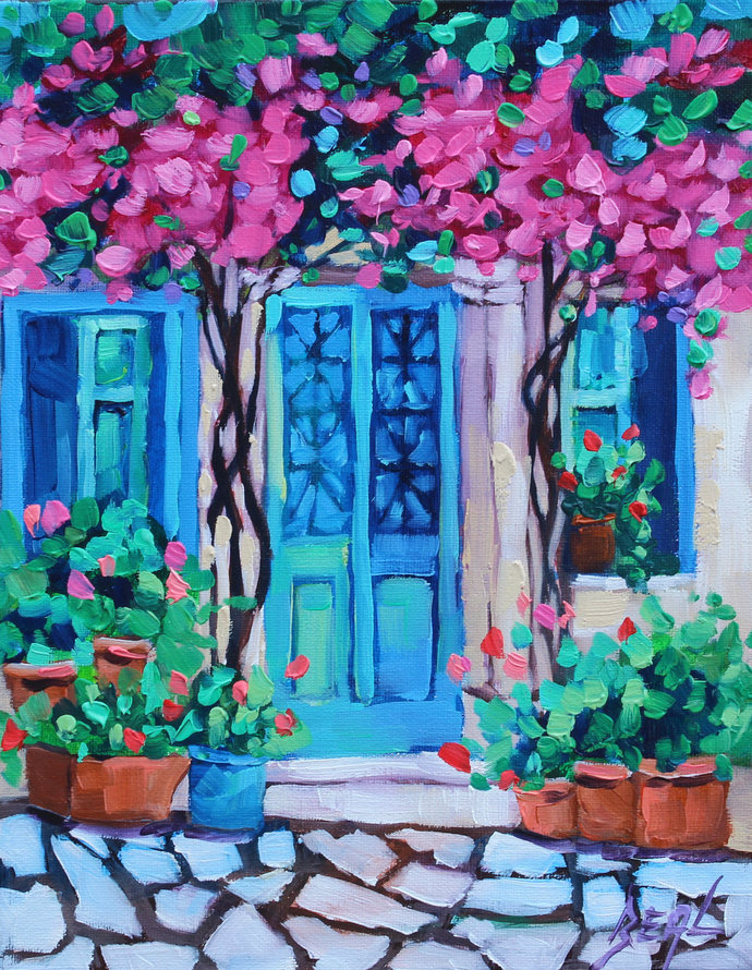 Colorful Oil painting Original House with Flowers painting cheerful Canvas Wall