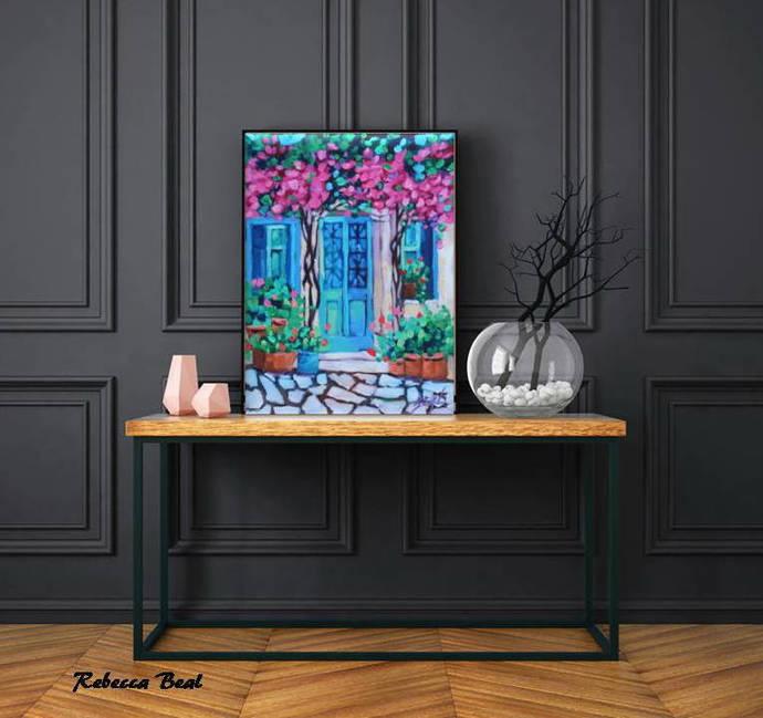 Colorful Mediterranean House Oil painting Original Flowers painting cheerful