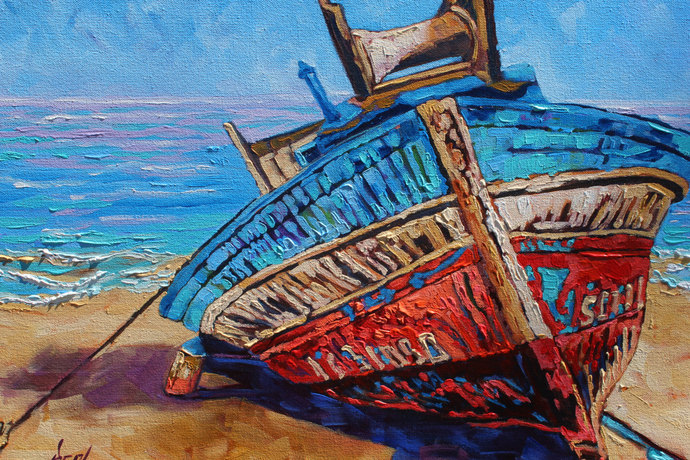 Boat Painting on Canvas Boats like Whiskey are all good Original Signed Oil
