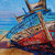 Boat Painting Canvas Boats like Whiskey are all good Original Signed Oil