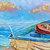 Oil painting Original Boat Art Ocean painting Beach Seascape Office wall art