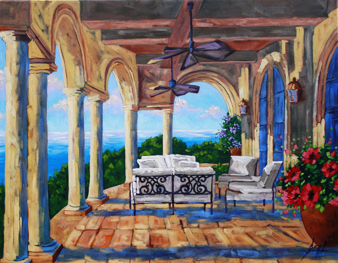 Original Oil Painting,THE RETREAT, Landscape, Garden, Flower art Signed Canvas