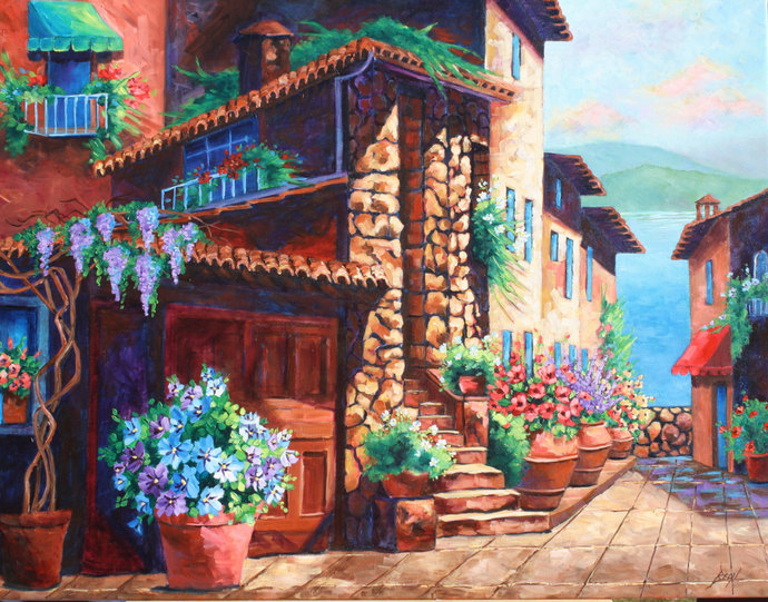 Oil Painting Original art Landscape Painting Tuscany Large canvas wall art