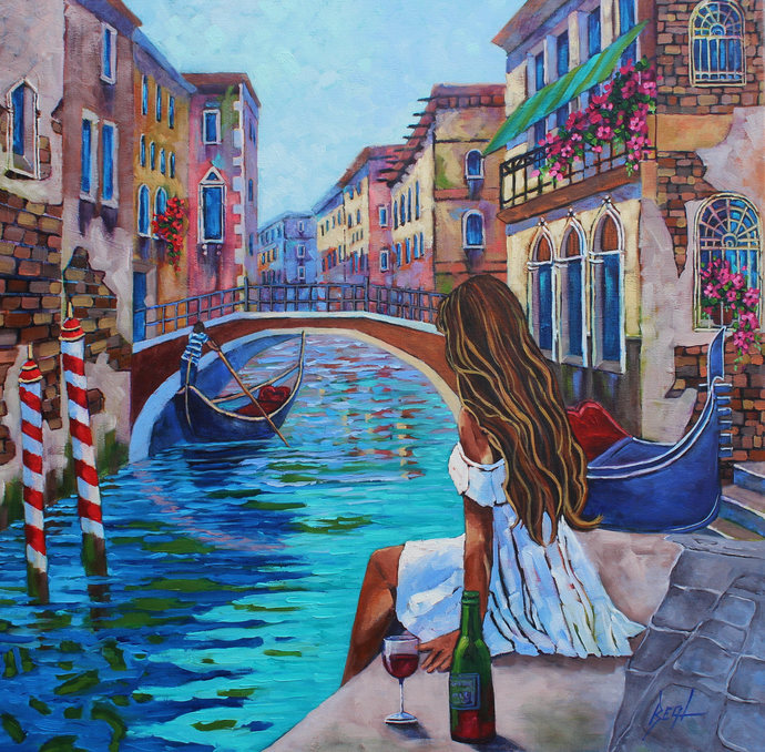 Venice Original Oil Painting Canvas Colorful Wall Art City of Love Original Home