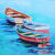 Boats Original Giclee canvas Print on canvas Colorful Boat wall art by Rebecca