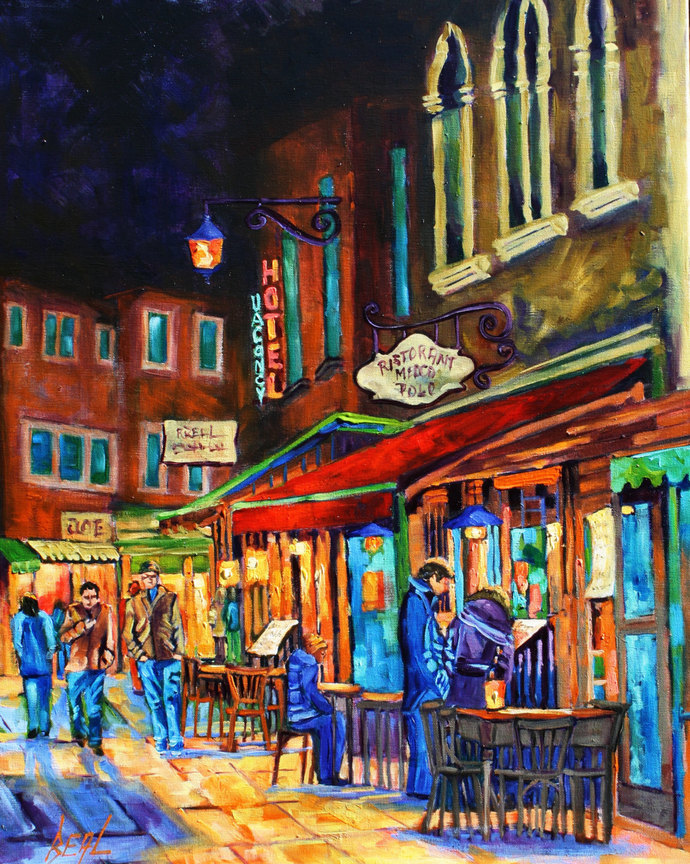 Giclee Canvas Print Colorful Night People Food wine Landscape wall decor