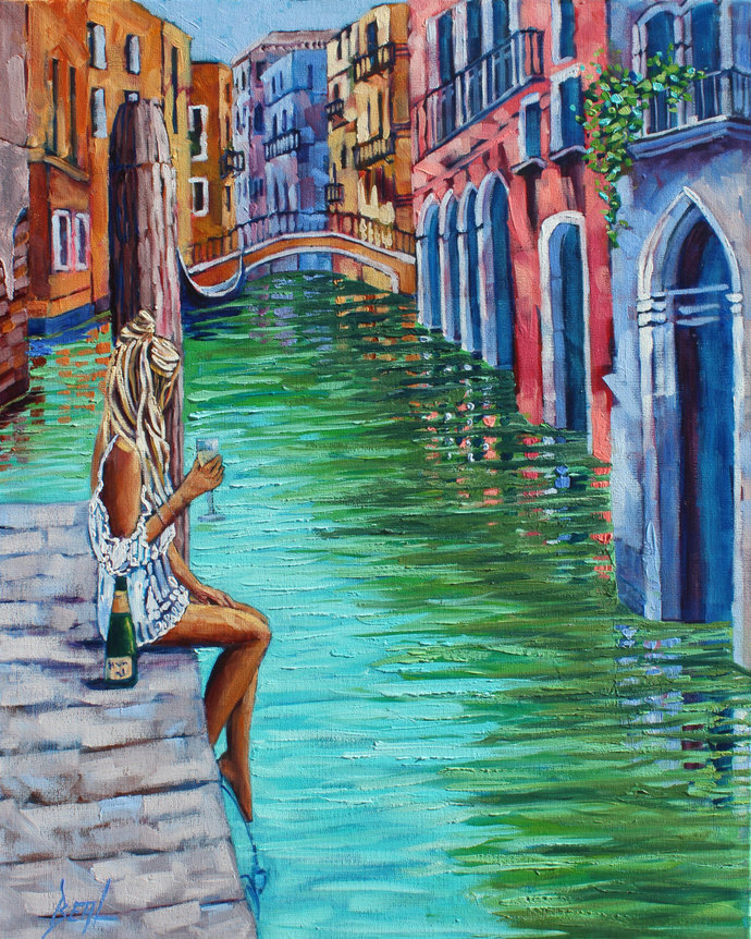 Giclee Canvas Print Enchanting Venice Original by RebeccaBeal on