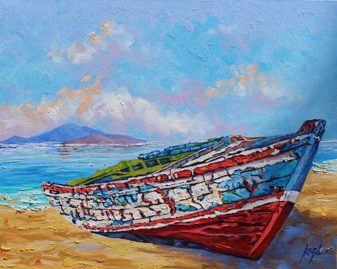 Giclee Canvas Print Old Boat Original Giclee print on Canvas, Boat wall art