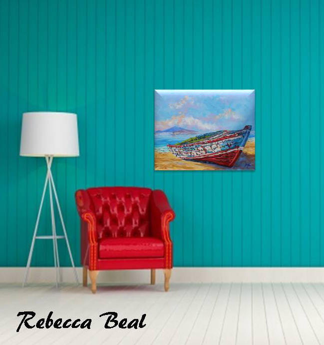 Giclee Canvas Print Old Boat on Canvas, boat wall decor by Rebecca Beal