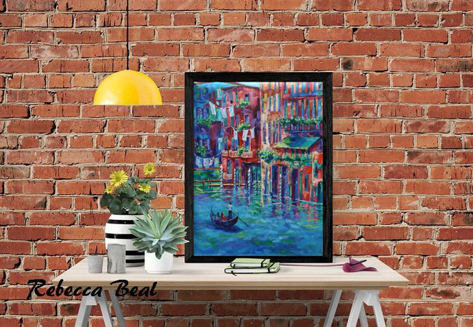 Venice Wall Art Giclee Canvas Print Original Landscape Colorful Wall art by