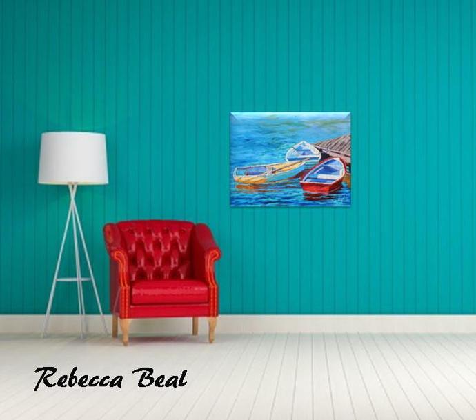 Colorful Giclee Canvas Print of Boat Vitamin Sea Boat wall art Rebecca Beal