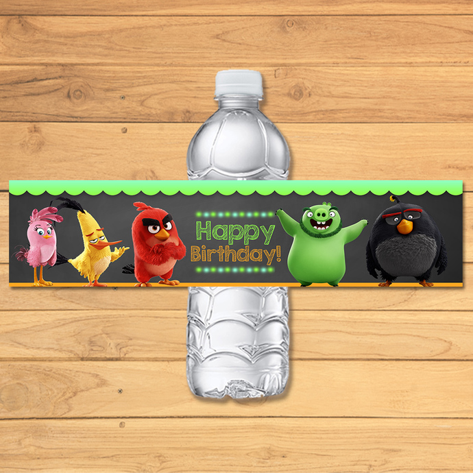 Angry Birds Drink Label Chalkboard * Angry Birds Movie Water Bottle Label *