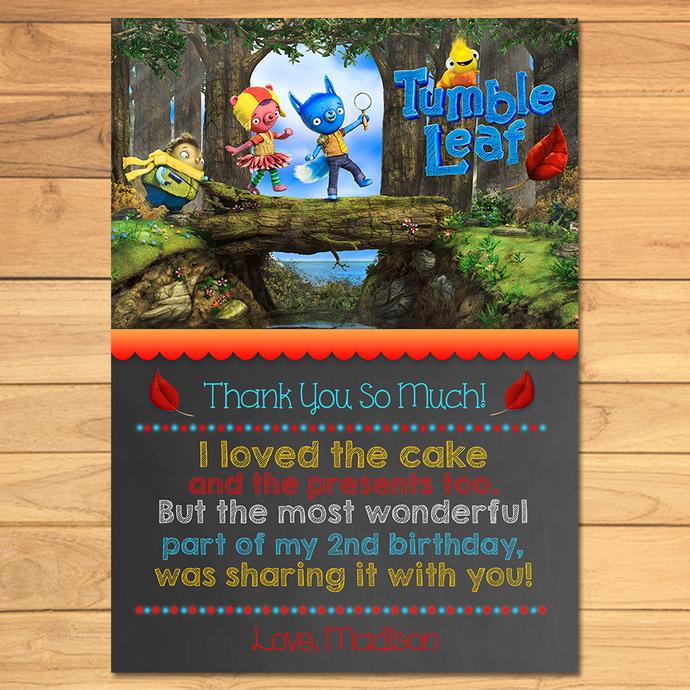 Tumble Leaf Birthday Thank You Card Chalkboard * Tumble Leaf Thanks * Tumble