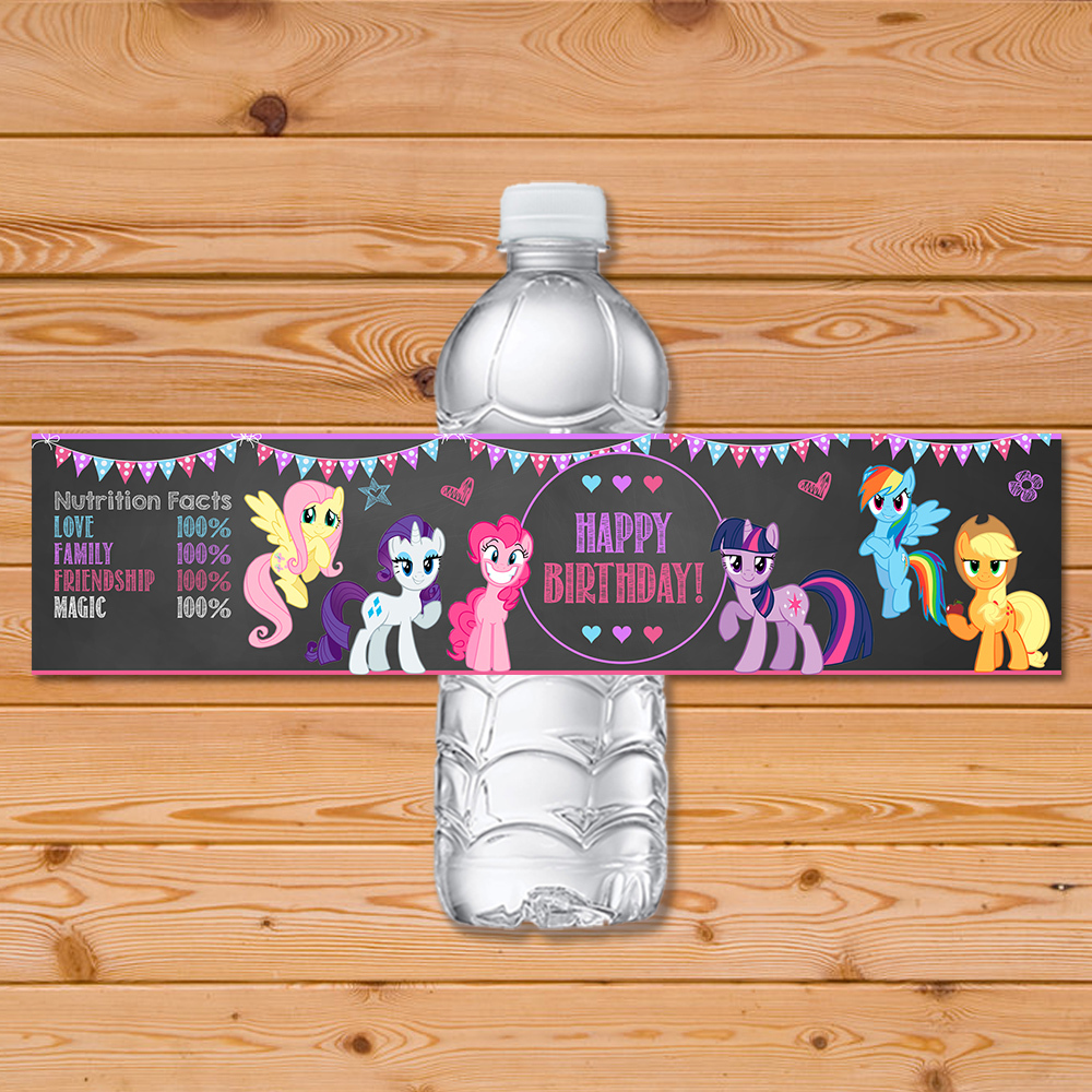 My Little Pony Drink Label Chalkboard Chevron * My Little Pony Water Bottle Label * My Little Pony Party Favors