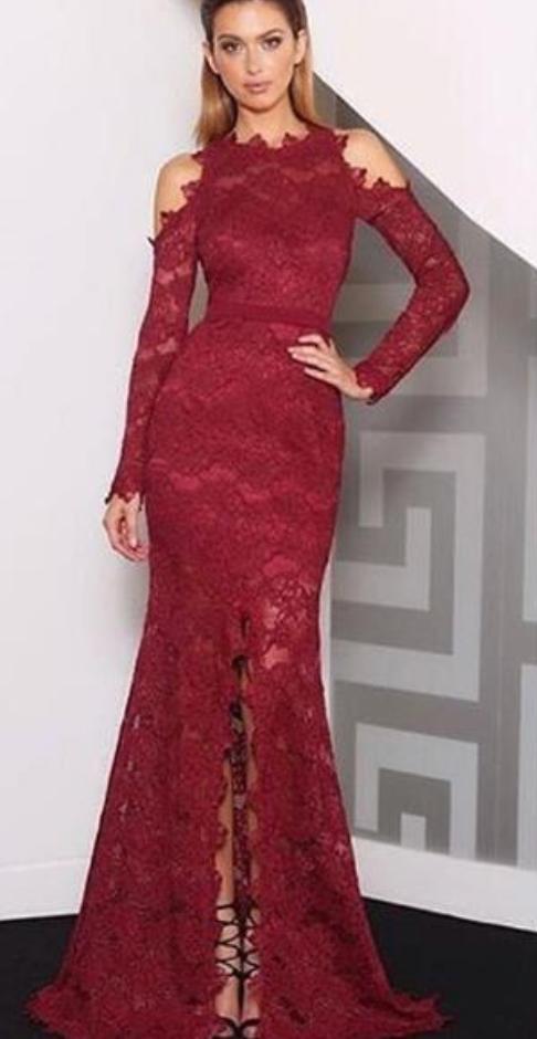 Burgundy Evening Dress, Lace Evening Dress, by prom dresses on Zibbet