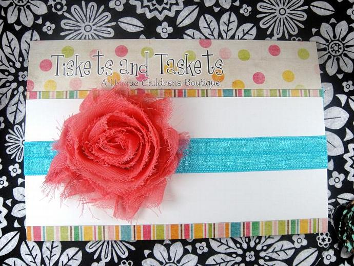 Coral Pink Chiffon Flower Rosette on Turquoise Blue  Stretch Headband - Newborn