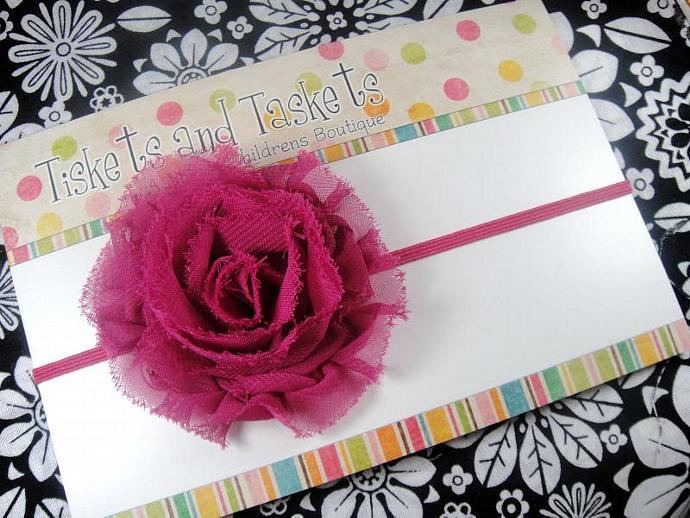 Perfectly Shabby Sierra Chiffon Fuchsia Pink Flower Rosette on super soft Skinny