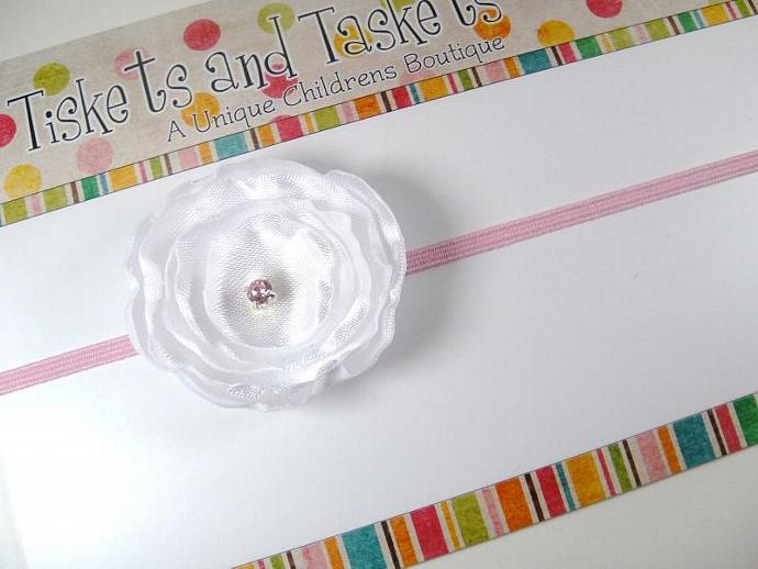 Dainty and Petite.. White Satin Ranunculus Flower w/pink crystal on Pink Skinny