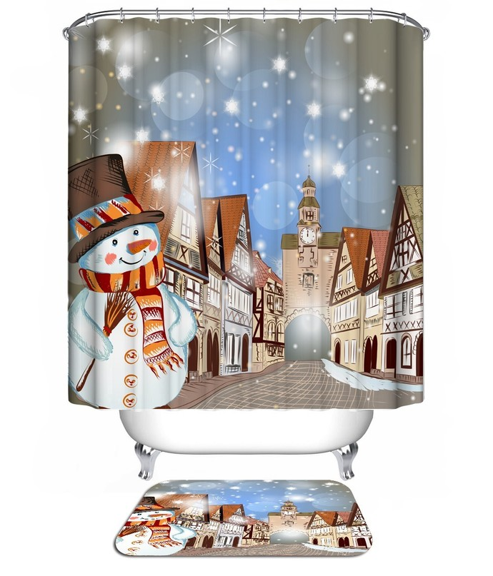 Christmas Snowman 05 Waterproof Fabric Shower Curtain U0026 Bath Mat For Decor  Your