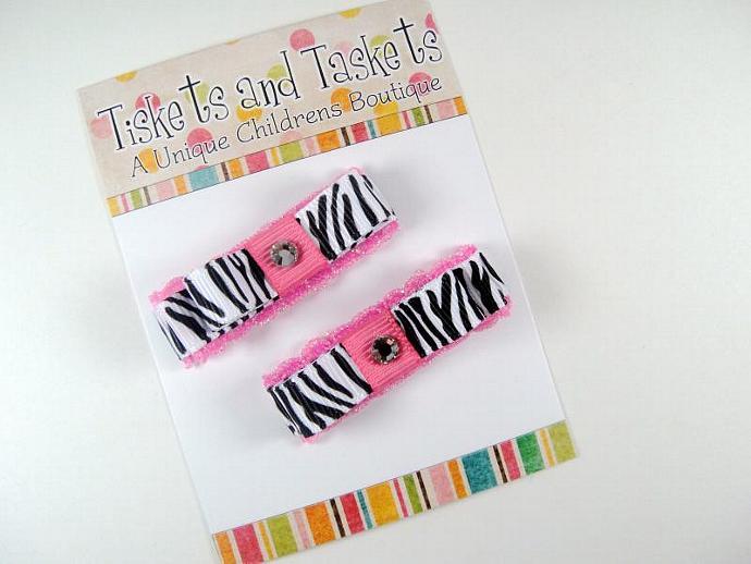 Set of 2 Hot Pink Zebra Tuxedo Clippies w/ swarovski crystals Custom Boutique