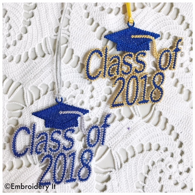 Free Standing Lace Class of 2018 gift tag machine embroidery design