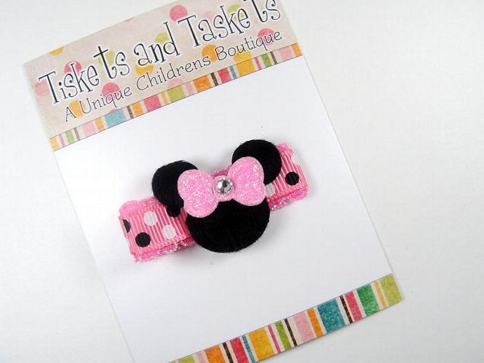 Pink Minnie Mouse w/ Swarovski crystal Hairbow Clippie Clip - Newborn Baby