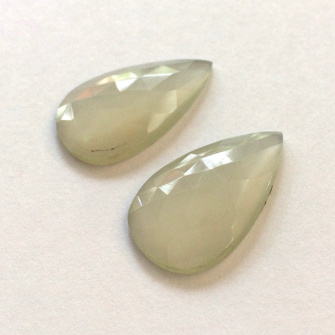 White Moonstone Gemstone Cabochon Rose Cut Pear 27x16mm FOR TWO
