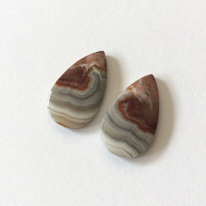 Crazy Lace Agate Gemstone Cabochon Pear 20x11mm FOR TWO