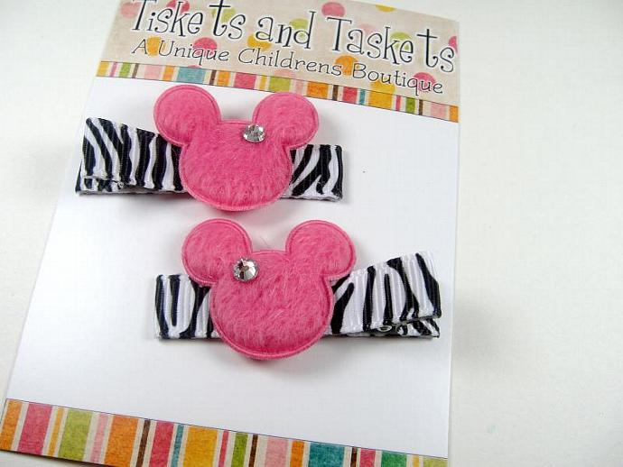 Pink Zebra Disney Inspired Minnie Mouse Boutique Custom Hairbow Clippies-