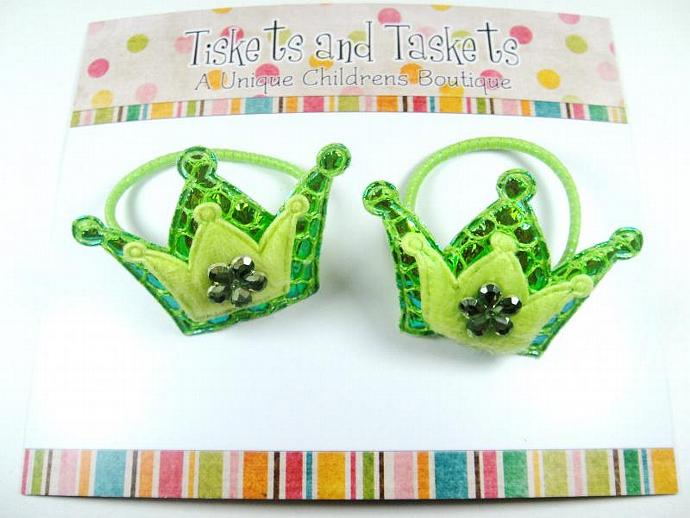 Green Crown Princess in the Frog Inspired Pony Tail O's Boutique Custom Hairbow