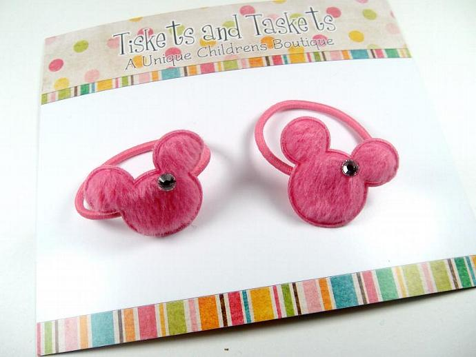 Set of Pink Disney Minnie Mouse Inspired w/ cystals Pony Tail O's Boutique