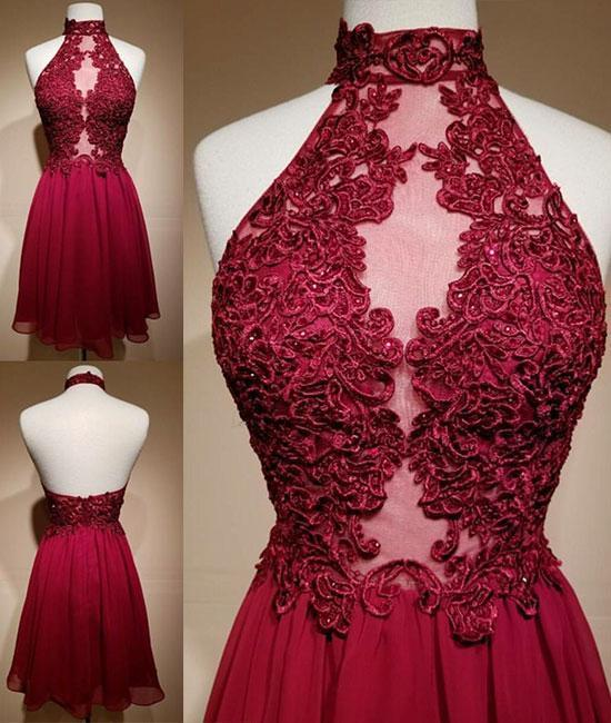 Burgundy Lace Appliques Mesh High Halter Neck Short Chiffon Homecoming Dress