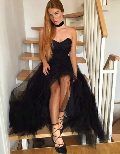 Black Tulle Prom Dresses, 2018 Prom Dresses, Long Evening Dress, Sexy Party