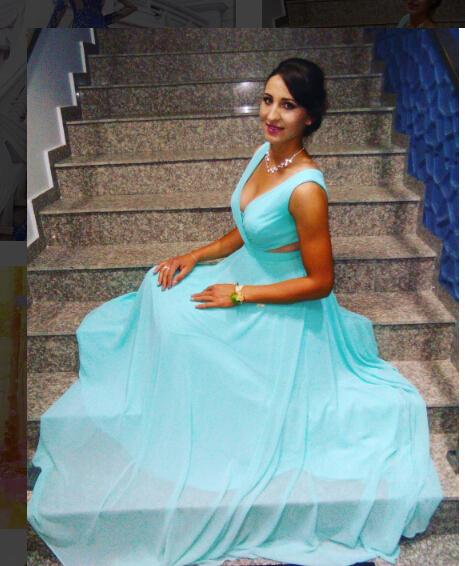 Deep V Neck Sexy Light Blue Evening Dress, Sleeveless Long Prom Dress