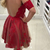 Sheer Red Short Prom Dress, Sexy Mini Tulle Prom Party Gown