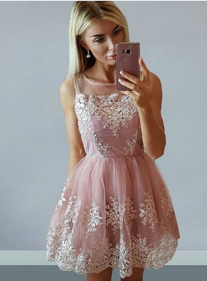 Short Appliques Prom Dress, Tulle Pink Homecoming Dress