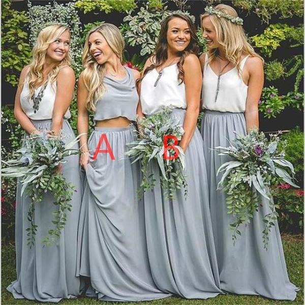 Cheap New Design Popular Simple Two Pieces Bridesmaid Dresses, wedding guest