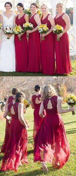 New Sexy Red Wedding Party Dress,Lace Bridesmaid Dress, Red Chiffon Bridesmaid