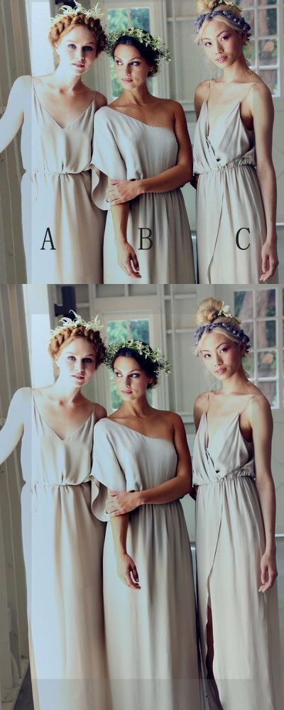 Simple Elegant Mismatched Different Styles Formal A Line Cheap Long Bridesmaid
