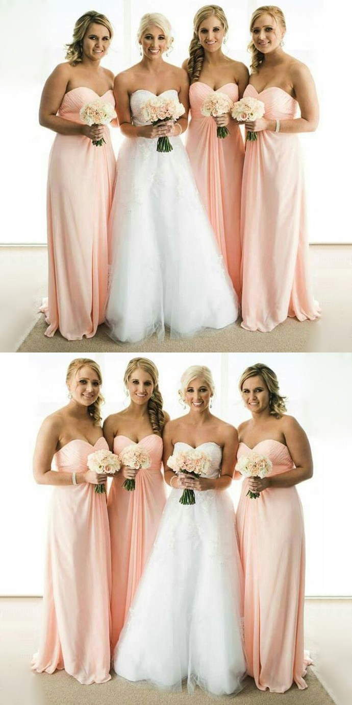 Simple Cheap Chiffon Sweet Heart Formal A Line Floor-Length Wedding Party